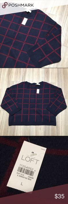 NWT LOFT Navy & Red Merino Wool Blend Boxy Sweater Brand new, with tags LOFT Sweaters Crew & Scoop Necks