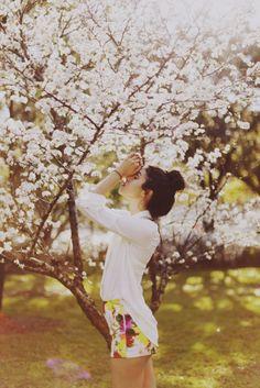 Floral shorts.