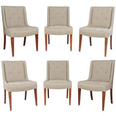 Set of Six Tufted Dining Chairs in Hemp Linen | From a unique collection of antique and modern dining room chairs at http://www.1stdibs.com/furniture/seating/dining-room-chairs/
