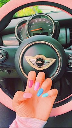 Korean DIY Nail Designs Autumn Pink Blue Candy French Nails Many women prefer to go … Summer Acrylic Nails, Best Acrylic Nails, Summer Nails, Summer French Nails, Diy Nail Designs, Nail Polish Designs, Aycrlic Nails, Manicure, Fire Nails