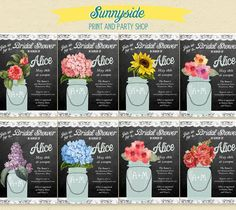 Chalkboard & Lace - Floral Mason Jar - Bridal Shower Invitation - 15  flower choices - Printable Invite