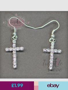 Tibetan Silver Cross With Purple Diamante,925 Sterling Silver Hook Earrings.