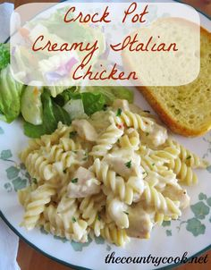 Creamy Italian Chicken: 1-2 pounds boneless, skinless chicken breasts, cut into 1-inch cubes; 1/4 cup water (or chicken broth); 1 (0.7) packet dry Italian Salad Dressing Mix; 1/2 cup onion, chopped; 1 clove garlic, minced; 1 (10.75 oz) can cream of chicken soup; 1/2 cup chicken broth; 1 (8 oz.) block cream cheese, softened; 1 (16 oz.) box Rotini pasta, cooked