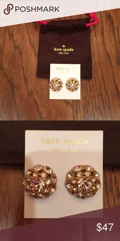 Kate Spade Crystal Earrings Gold Fill These are earrings brand new with bag and have so much fire in them. One of the prettiest Kate has ever made and retail 99.  Earrings only for sale on this listing. I sat them on a dress and with a handbag I have listed to see more about size. These are around the size of a quarter and so shiny! kate spade Jewelry Earrings