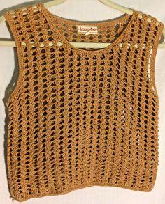 TASSHA Tan Open Weave Hand Knit/Crochet Cropped Top/Sweater - Size Small - S #Tassha #TankCami #top #sweater #tan #small #s