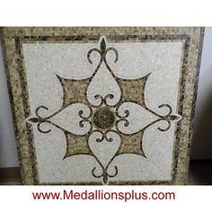 """ROMA, 34 1/8th"""" Square Stone Floor Inlay - MedallionsPlus.com - Floor Medallions on Sale. Tile, Mosaic, & Stone Inlays."""