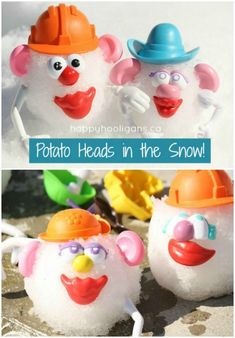 Outdoor Mr Potato Head - fun for the snow or sand! The ultimate list of snow day ideas - kids activities for winter, boredom busters and creative ways to have fun in the snow. #snow #snowday #bored #boredombusters #kidsactivities #kids #family #winter #beach #sand