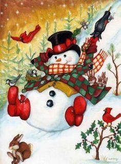 Snow Pals, snowmen, snowman art from master painter of all things Christmas, Joseph Holodook Vintage Christmas Cards, Christmas Pictures, Christmas Snowman, Winter Christmas, All Things Christmas, Christmas Time, Christmas Crafts, Christmas Decorations, Holiday