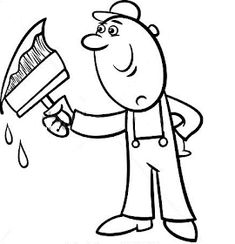 Black and White Cartoon Vector Illustration of Worker with Big Brush painting a Wall and doing Renovation for Coloring Book , Coloring Books, Coloring Pages, Black And White Cartoon, Background Patterns, Smurfs, Vector Free, Royalty Free Stock Photos, Illustration, Pictures