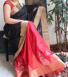 Elegant Soft Silk Saree in Red & Black