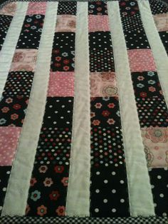 Pink Black Flowers and Dots In This 23 X 28 by WrappingYouInWarmth