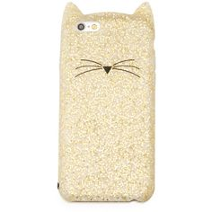 kate spade new york glitter cat iPhone 6/6s case (2,150 DOP) ❤ liked on Polyvore featuring accessories, tech accessories, gold glitter and kate spade