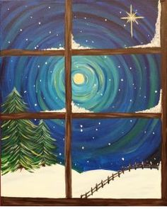 For art and wine parties in pierce co christmas paintings, christmas art, c Christmas Paintings On Canvas, Christmas Canvas, Christmas Art, Winter Painting, Winter Art, Winter Night, Easy Canvas Art, Christmas Drawing, Learn To Paint