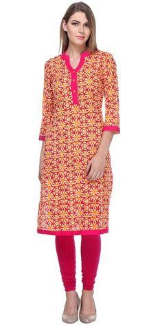 Beautiful Pink And Red Cambric Printed Kurti.