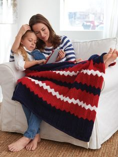 Striped Ripple Afghan | Yarn | Free Knitting Patterns | Crochet Patterns | Yarnspirations