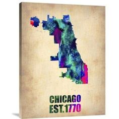 """Naxart 'Chicago Watercolor Map' Graphic Art Print on Canvas Size: 24"""" H x 18"""" W x 1.5"""" D"""