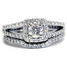 Diamond with halo, split shank engagement ring w/ band wedding ring set.