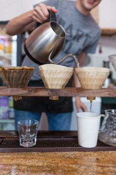etsyfindoftheday:  etsyfindoftheday 1 | 5.25.15pour-over coffee brewing stand by gradientmatteryawn … mondays are for coffee. this walnut pour-over stand holds up to four coffee filters and is handmade in san francisco, where the hippest coffee drinkers know what's up ;)
