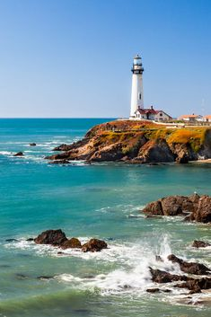 """Pigeon Point Lighthouse"" on California coast between Santa Cruz and San Francisco ~ by Donald Jin Lighthouse Painting, Sailboat Painting, Lighthouse Pictures, California Coast, California Camping, Half Moon Bay California, California Lighthouse, Central California, Beautiful Landscapes"