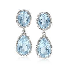 8.20 ct. t.w. Blue Topaz and .14 ct. t.w. Diamond Drop Earrings in Sterling Silver