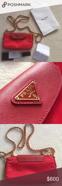 Prada bag Prada red tessuto saffiano leather/nylon crossbody bag. Chain is removable. Comes with authenticity card and shopping bag. Worn once and in excellent condition. Like new. Prada Bags Crossbody Bags