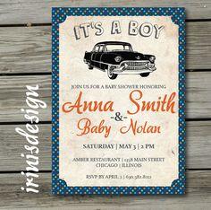 Vintage Car Baby Shower Invitation | Boy Baby Shower |  Vintage Retro Antique Invite | 102