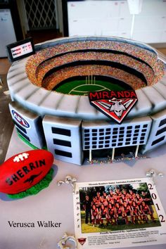 """MCG Melbourne Stadium Private class at Whimsical Cake House. I was asked to help build the Melbourne MCG Stadium for AFL footy final. It was two days of intensive work, over 16 hours, 9 x 10"""" chocolate mudcake, 8 kilos of chocolate ganche, 7 kilos of fondant and some eletrical equipments. ;) Cricket Birthday Cake, Cricket Cake, Birthday Cakes, Dad Birthday, Birthday Ideas, Raspberry Smoothie, Apple Smoothies, Beautiful Cakes, Amazing Cakes"""