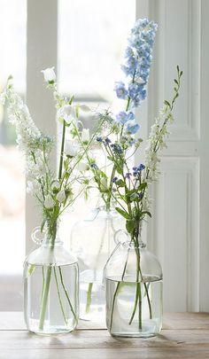 Flowers and shutters 💙 Table Flowers, Flower Vases, Fresh Flowers, Beautiful Flowers, Beautiful Flower Arrangements, Floral Arrangements, Happy Flowers, Delphinium, Home And Deco