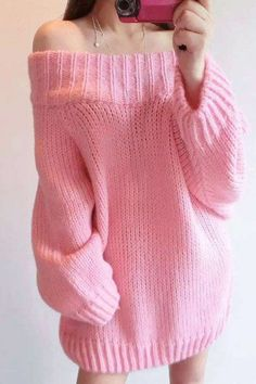 """Pastel pink sweater ♥ // Using """"Brick"""" top down knitting pattern Korean Outfits, Mode Outfits, Girl Outfits, Fashion Outfits, Pastel Fashion, Kawaii Fashion, Cute Fashion, Style Fashion, Ddlg Outfits"""