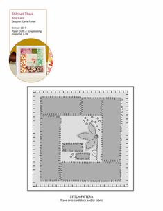 Sewing pattern for Stitched Thank You Card | Carrie Ferrier | October 2014 | Paper Crafts & Scrapbooking magazine