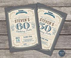 30 40 50 60 70 80 cumpleaños retro invitación para hombres / /