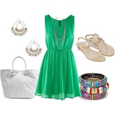 Chic Green Dress Outfit Idea for Summer
