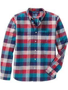 Men's Slim-Fit Plaid Oxford Shirts Product Image