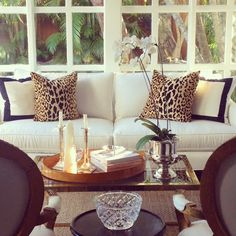 leopard and black trim pillows