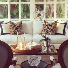 leopard and black trim pillows