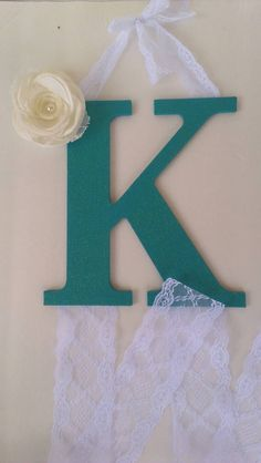 Teal glitter wood letter initial bow holder by LnPBoutique on Etsy