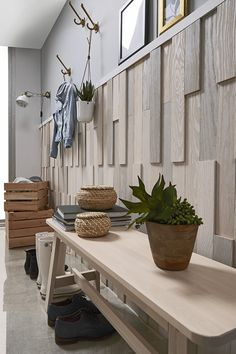 Shop our Wood Wall Panels. Create Your Own Wood Wall Project. Made of 100 % Solid Wood. Discover our Barn Wood - Reclaimed - Shiplap Collections Stick On Wood Wall, Peel And Stick Wood, Diy Wood Wall, Timber Walls, Wood Panel Walls, Barn Wood, Solid Wood, Entrance, Projects To Try
