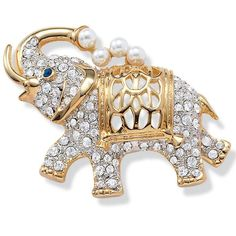 Add a unique accent to any outfit while showing off your love of animals with this stylish elephant pin. White crystals, faux pearls, and a high-polish goldtone finish make this pin shine and are sure to draw attention and admiration.