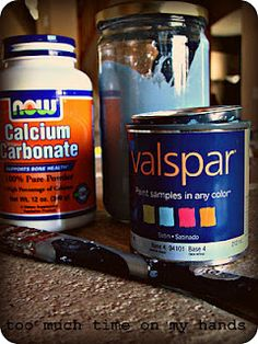 "Homemade Chalk Paint – though I was told ""unsanded"" grout (the stuff in between your ceramic tiles)"