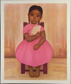 Gustavo Montoya Mexican Art Print Girl With Fan : Lot 170093