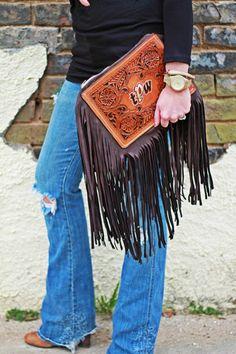 The Jericho | Wild Bleu  Custom leather clutch with elk fringe and monogram