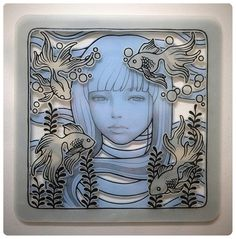 """Audrey Kawasaki - """"Untitled"""" graphite and ink on hand cut vellum 6""""x6"""" Jakarta or Bust art auction 2012"""
