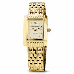 "Georgia Tech Women's Swiss Watch - Gold Quad Watch with Bracelet by M.LaHart & Co.. $379.00. Officially licensed by Georgia Tech. Attractive M.LaHart & Co. gift box.. Classic American style by M.LaHart. Three-year warranty.. Swiss-made quartz movement with 7 jewels.. Georgia Tech women's gold watch featuring GT logo at 12 o'clock and ""Georgia Tech"" inscribed below on cream dial. Swiss-made quartz movement with 7 jewels. Cream dial with hand-applied faceted markers. Jewelry-grade..."