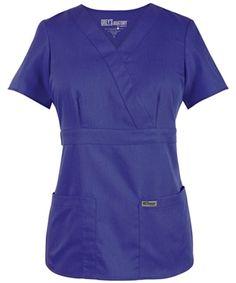 Grey's Anatomy Scrubs - 3 Pocket Mock Wrap Top With Tab Back (Junior Fit) Cute Nursing Scrubs, Scrubs Uniform, Greys Anatomy Scrubs, Perfect Wardrobe, Scrub Tops, Grey's Anatomy, Cute Outfits, Dresses For Work, Style Inspiration