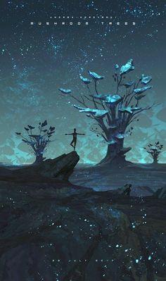 """Mushroom Trees"" by Andi Koroveshi Fantasy Artwork, Fantasy Art, Amazing Art, Animation Art, Anime Scenery, Art, Environmental Art, Landscape Art, Beautiful Art"