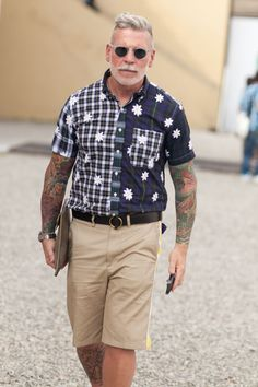 Nick Wooster. Summer. Fresh. Great Look. Hair. Pattern. Shorts. Sleeve Tattoo. Fashion.