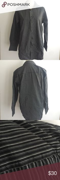 Kenneth Cole Reaction Button Down Size 15 Regular fit. Long sleeve. Size 15. 100% cotton. Black, white and gray stripes Kenneth Cole Reaction Shirts Dress Shirts