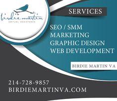 SEO - Search Engine Optimization Marketing Graphic Design Web Development www.birdiemartinva.com Birdie Martin Marketing, LLC