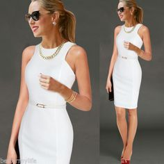 Vfemage Womens Elegant Sleeveless Belted Wear To Work Office Business Party Casual Summer Bodycon Slim Fitted Pencil Dress WomenSeason: SummerSleeve Length: SleevelessMaterial: Polyester,SpandexSleeve Style: RegularPattern Type: SolidDres Women Sleeve, Pencil Dress, Work Fashion, Work Wear, Designer Dresses, Fashion Dresses, Bodycon Dress, Belted Dress, Dresses For Work