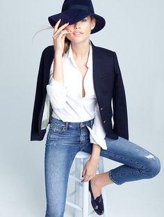 Hat, blazer, jeans + crisp white shirt
